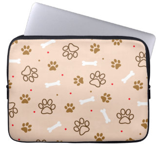 Cute dog pattern with paws bones tiny polka dots computer sleeve