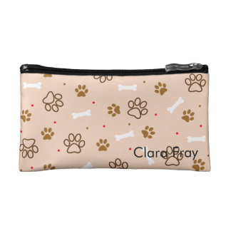 Cute dog pattern with paws bones tiny polka dots cosmetic bag