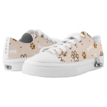 Cute dog pattern with paws bones tiny polka dots Low-Top sneakers