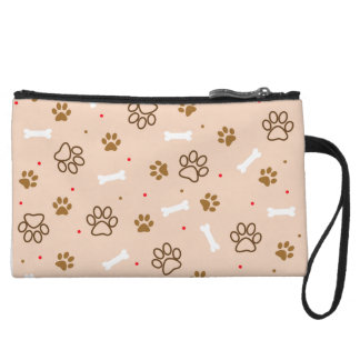 Cute dog pattern with paws bones tiny polka dots wristlet wallet