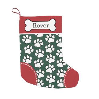 Cute Dog Paw Print Pattern Custom Pet Name Small Christmas Stocking