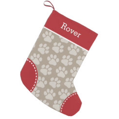 Cute Dog Paw Print Pattern Custom Pet Name Small Christmas Stocking