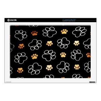 Cute Dog Pawprints Design On Black, Laptop Skin