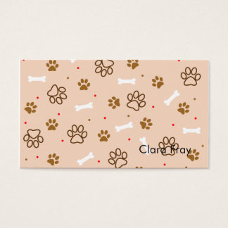 cute dog paws and bones polka dots pattern business card