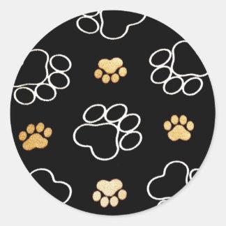 Cute Dog Paws Classic Round Sticker