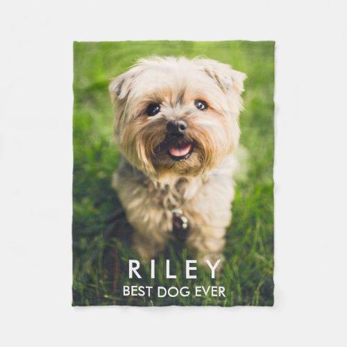 Cute Dog Personalized Pet Photo Custom Fleece Blanket