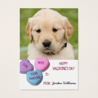 Cute Dog Photo Classroom Valentine Candy Hearts Business Card
