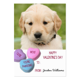 Cute Dog Photo Classroom Valentine Candy Hearts Large Business Card