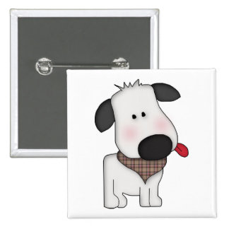 Cute dog pulling tongue square button