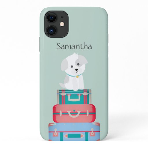 Cute Dog Sat on Suitcases Personalised iPhone 11 Case