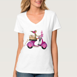 Cute Dog Scooter Girl Pet Bones T-Shirt