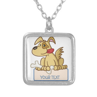 Cute dog silver plated necklace