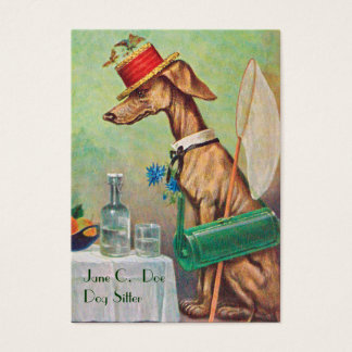 Cute Dog Sitter/Dog Walker Vintage Business Card