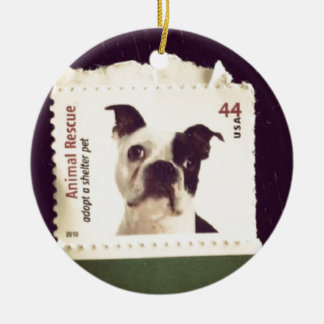 Cute Dog Stamped Ceramic Ornament