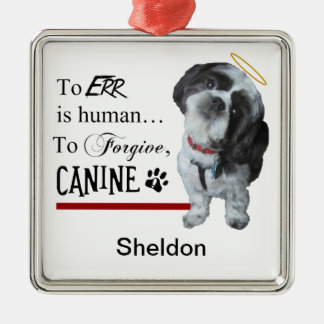 "Cute Dog ""To Err is Human~To Forgive Canine"" Metal Ornament"