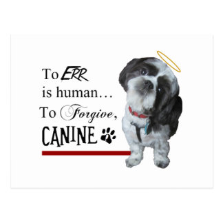 "Cute Dog ""To Err is Human~To Forgive Canine"" Postcard"