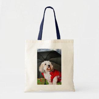 Cute dog under umbrella canvas bag