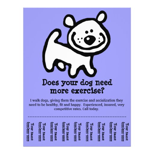 CUTE Dog Walker Customizable promo Flyer Design