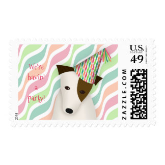 cute dog wearing party hat we're havin a party postage