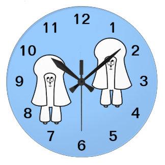 Cute Dog. White Toy Poodle / Miniature Poodle. Clocks