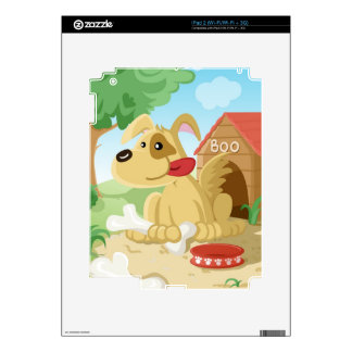 Cute dog with a bone skins for iPad 2
