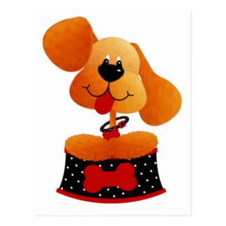 Cute Dog With Black Dotted Bed Postcard