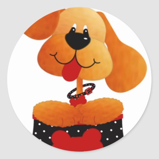 Cute Dog With Black Dotted Bed Round Stickers