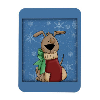 Cute dog with Christmas stocking Rectangular Photo Magnet