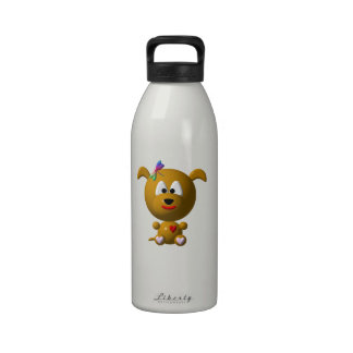Cute Dog with Dragonfly Reusable Water Bottles