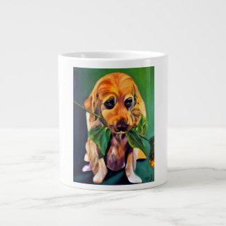 Cute Dog with Flower in Mouth Jumbo Mug
