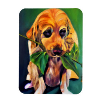 Cute Dog with Flower in Mouth Photo Magnet