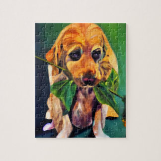 Cute Dog with Flower in Mouth Puzzle