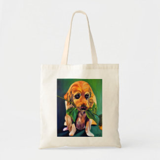 Cute Dog with Flower in Mouth Tote Bag