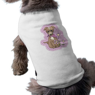 Cute dog with flowers shirt