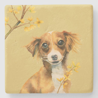Cute Dog with Forsythia Watercolor Illustration Stone Coaster
