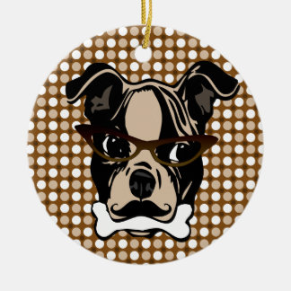 Cute Dog with Mustache, Eyeglasses & Bone in mouth Ceramic Ornament