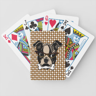 Cute Dog with Mustache, Eyeglasses & Bone in mouth Poker Deck