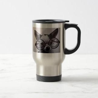 Cute dog with oversized glasses travel mug