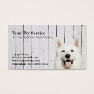 Cute Dog Wood Stripes Pet Salon/Pet Grooming Business Card