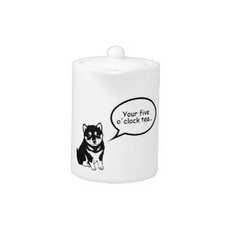 Cute Dog Year 2018 Speech Bubble Teapot