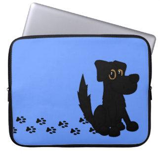 Cute Doggie Family Black Dog on Blue Laptop Sleeve