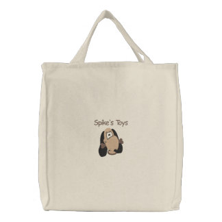 Cute Doggie Head with Bone Embroidery Pattern Embroidered Tote Bag