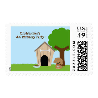 Cute doggie house boy's birthday party stamps