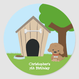 Cute doggie house boy's birthday party stickers