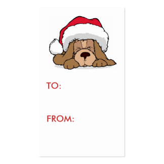 Cute Doggy Holiday Gift Tag Double-Sided Standard Business Cards (Pack Of 100)