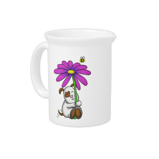 Cute Doggy With Flower Umbrella Drink Pitchers