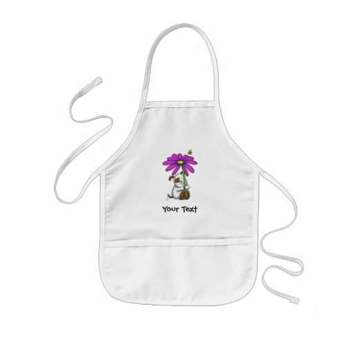Cute Doggy With Flower Umbrella Kids' Apron