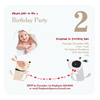 Cute Dogs Hearts Watercolor Baby Birthday Party Card