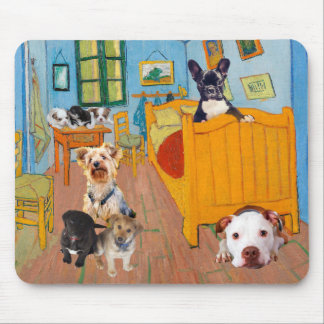 Cute Dogs in Van Gogh's Bedroom Mouse Pad