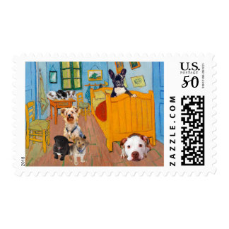 Cute Dogs in Van Gogh's Bedroom Postage
